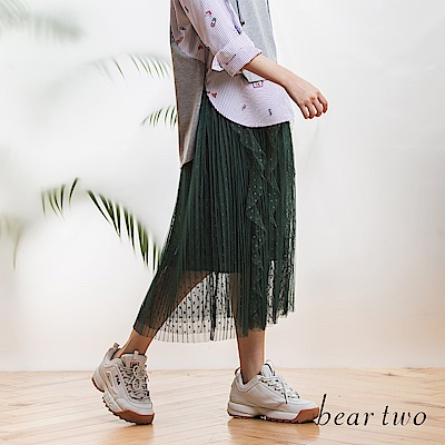 beartwo 浪漫波浪點點氣質仙女紗裙(二色)