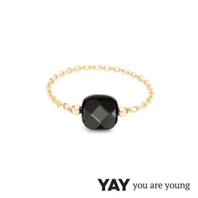 YAY You Are Young 法國品牌 Riviera 黑瑪瑙鍊戒 金色經典款