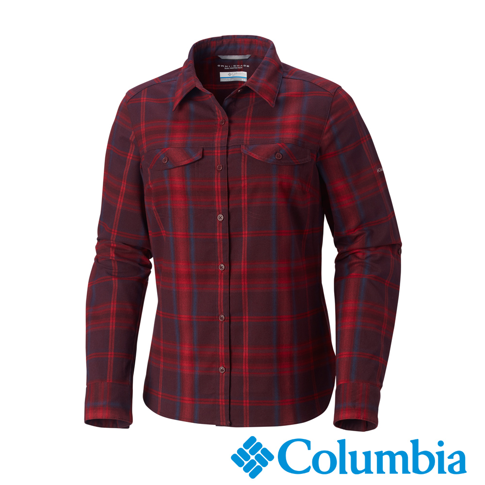Columbia 哥倫比亞 女款-Omni-Wick快排長袖襯衫暗紅UAK02890
