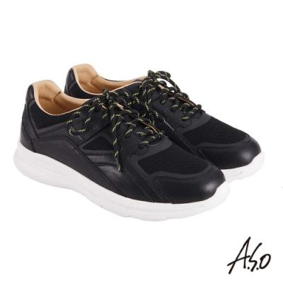 A.S.O 機能休閒 萬步健康鞋 牛皮拼接透氣網布休閒鞋-黑