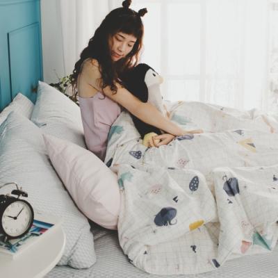 絲薇諾 MIT精梳純棉  白日夢琉璃藍  雙人5尺-床包鋪棉被套四件組