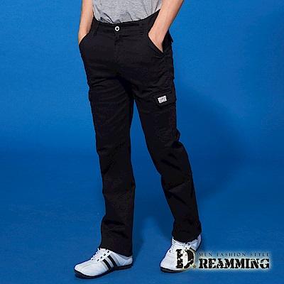 Dreamming 時尚風潮布標伸縮休閒工作長褲-黑色
