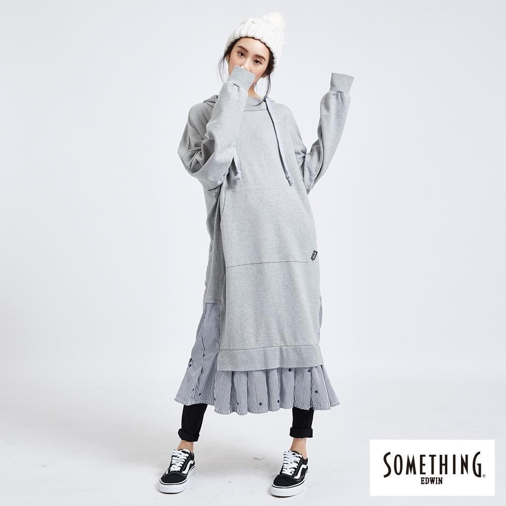 SOMETHING假兩件式 超長版連帽長袖T恤-女-麻灰色