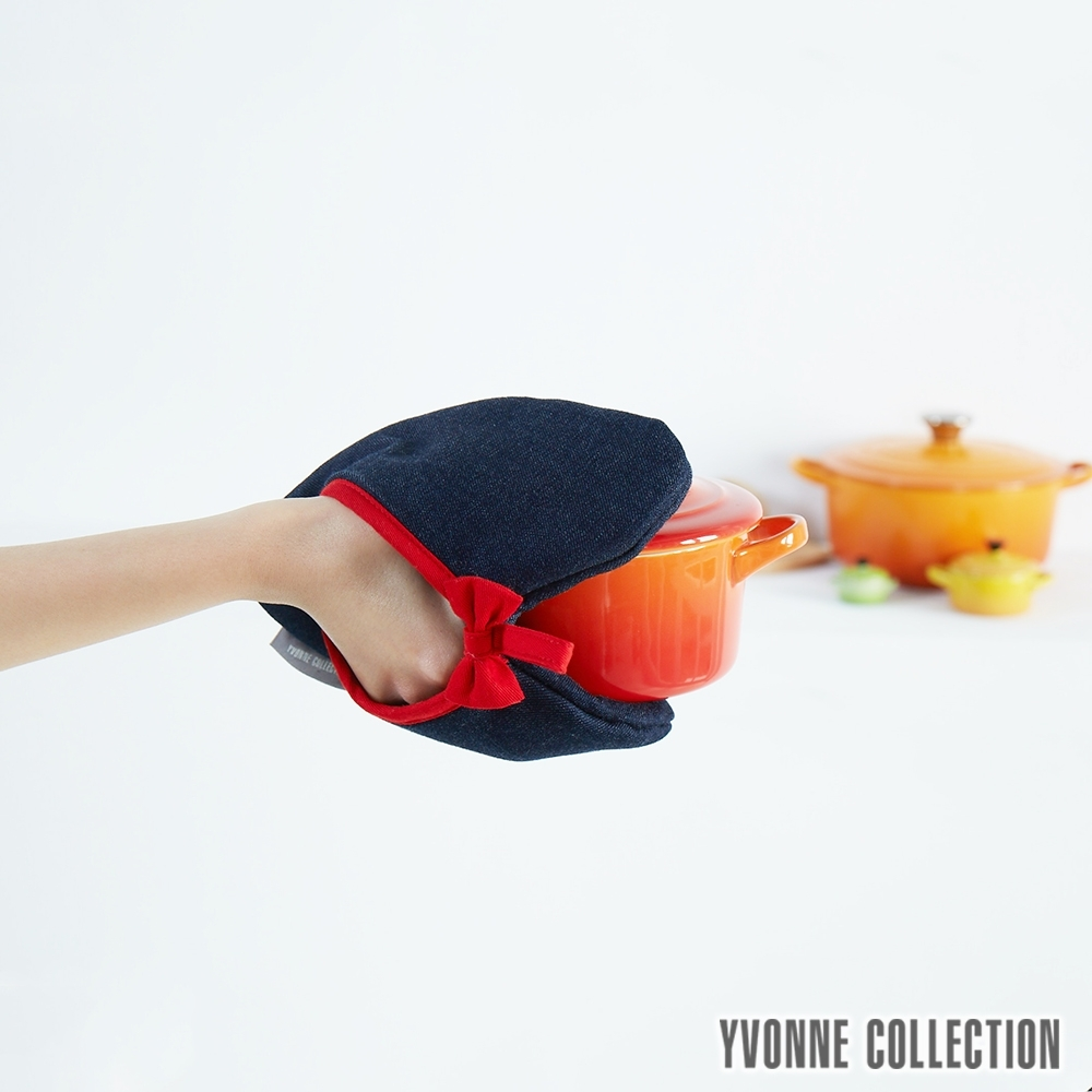 YVONNE COLLECTION 心型牛仔布兩用隔熱手套/隔熱墊-深丈青