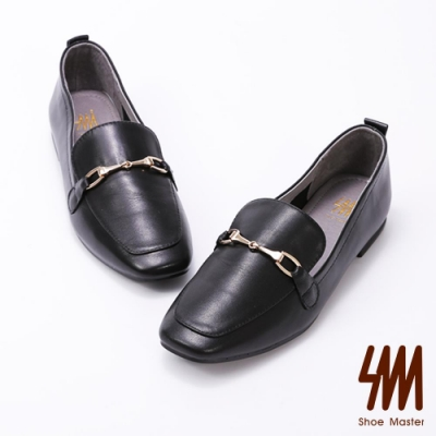 SM-方頭馬銜釦低跟樂福鞋