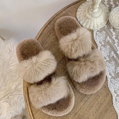KEITH-WILL時尚鞋館-奢華晚宴絨毛保暖拖鞋-卡其色