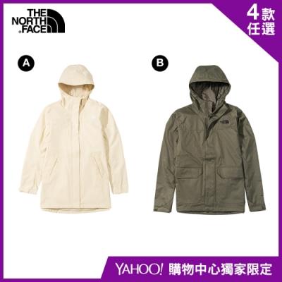 【The North Face】YAHOO限時優惠-北面春夏新品男女款防水透氣連帽衝鋒衣(4款任選)