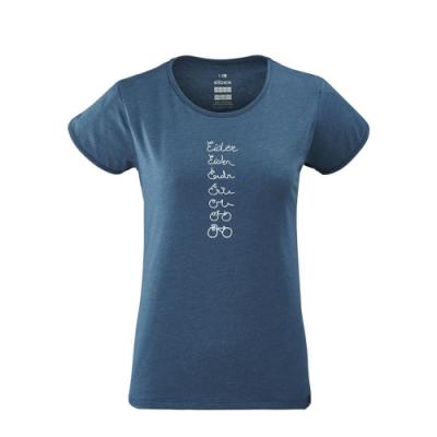 法國【EiDER】女排汗抗UV印花短袖圓領衫 / 9EIV4660-暴風藍