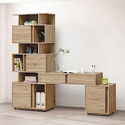 綠活居 伊琳時尚6.4尺多功能書桌/電腦桌組合-193.1x40x196.8cm免組