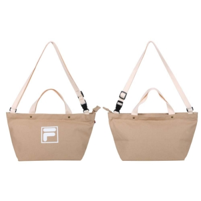 FILA 中型兩用帆布包-手拿包 側背包 斜背包 肩背包 BMU-9009-KK 奶茶白