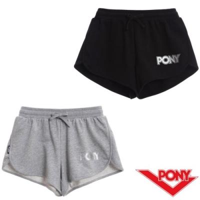【PONY】純棉運動短褲-女-黑 灰