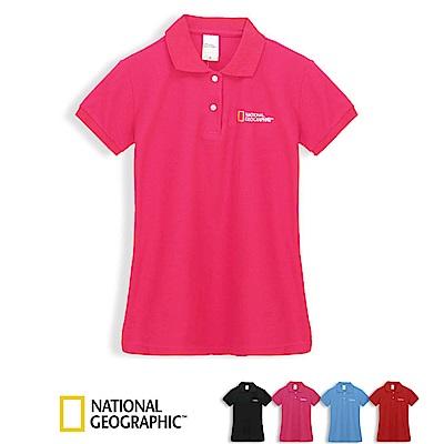 國家地理女款休閒短袖POLO衫-桃紅色