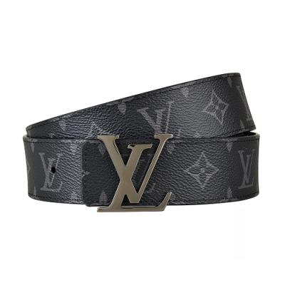 LV M9043U INITIALES 花紋LOGO帆布雙面設計扣式皮帶(黑)