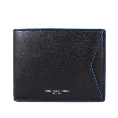 MICHAEL KORS Gifting 燙銀Logo全皮革男夾(黑色寶藍邊)