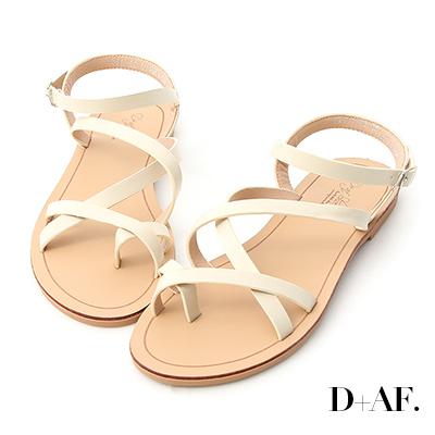 D+AF 輕快印象.交叉線條套指平底涼鞋*米