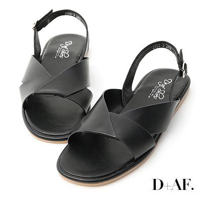 D+AF 簡單俐落.寬版摺疊方頭平底涼鞋*黑