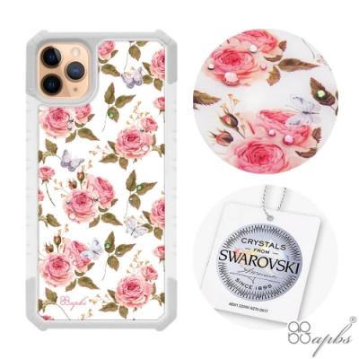 apbs iPhone 11 Pro Max 6.5吋施華洛世奇彩鑽軍規防摔手機殼-蝶舞玫瑰