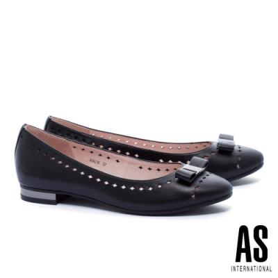 低跟鞋 AS 氣質典雅蝴蝶結全真皮低跟鞋-黑
