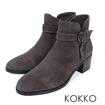 KOKKO-歲月如歌飾扣簡約粗跟短靴-年代灰