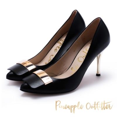 Pineapple Outfitter 低調簡約真皮金屬飾扣高跟鞋-黑色