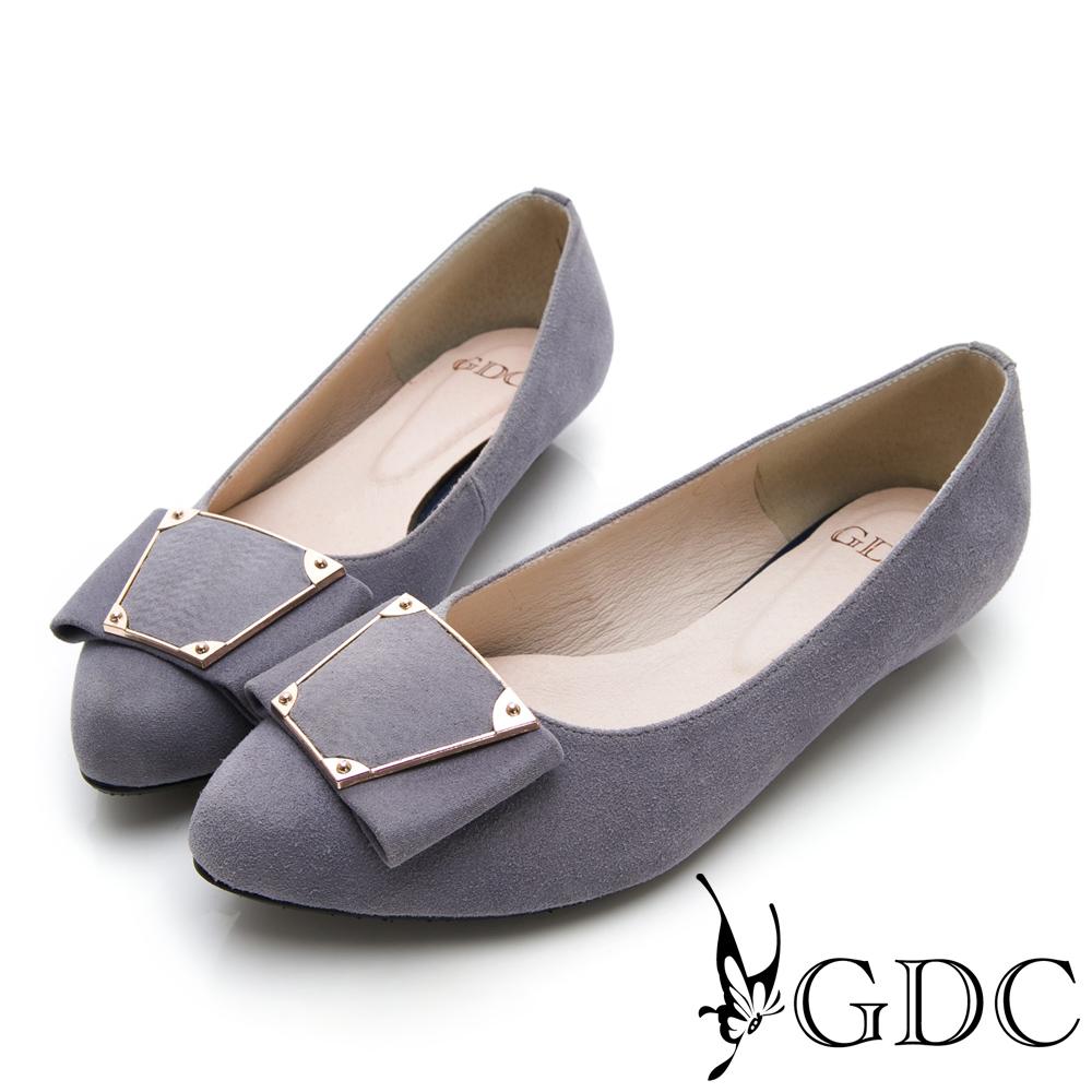 GDC-真皮時尚簡約個性方扣質感尖頭低跟包鞋-藍色