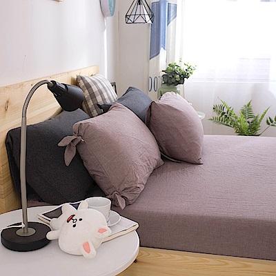 BUNNY LIFE 焦糖咖-雙人-舒眠知夢水洗棉床包3件組