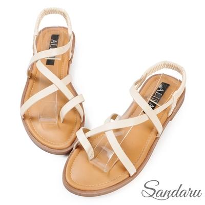 山打努SANDARU-涼鞋 交叉帶夾腳後鬆緊平底鞋-米
