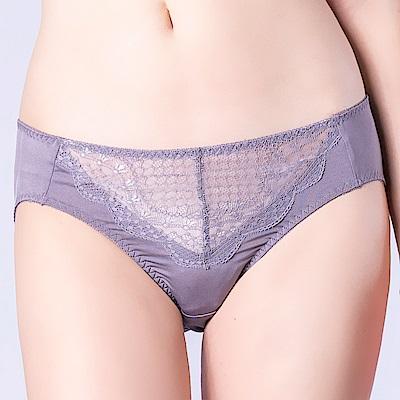 思薇爾 晴星系列M-XXL蕾絲中腰三角內褲(鋅灰色)