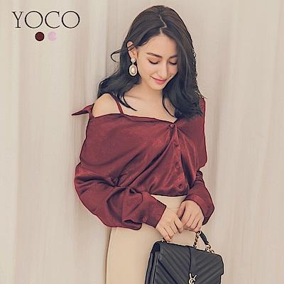 東京著衣-yoco 柔美絲綢光澤緞面露肩襯衫-S.M.L(共二色)