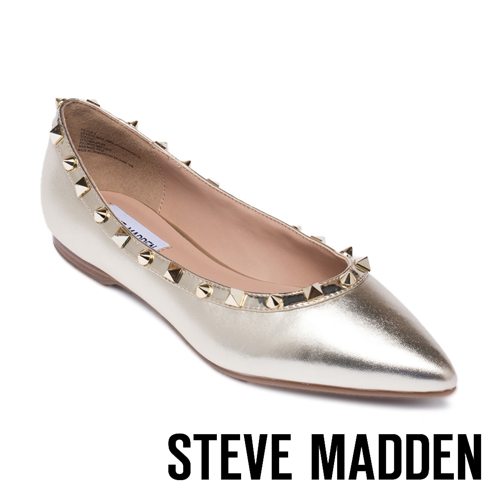 STEVE MADDEN FALICIA-S 摩登款 皮質鉚釘尖頭平底鞋-金色