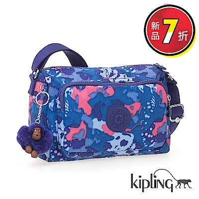 Kipling 斜背包 大麥町迷彩藍-小