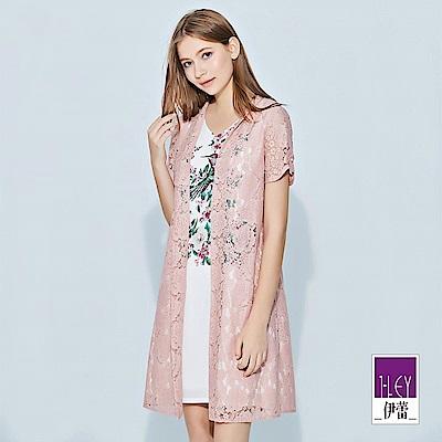 ILEY伊蕾 精緻花鳥印花蕾絲兩件式洋裝(粉)