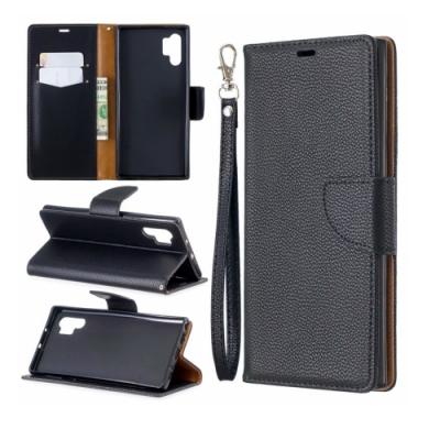 PKG 三星Note10 Plus (6.8吋) 側翻式皮套-精選時尚皮紋-商務黑