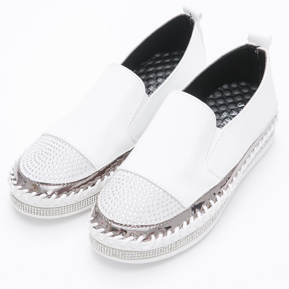 River&Moon韓版細鑽拼接素面鑽石厚底懶人鞋-白