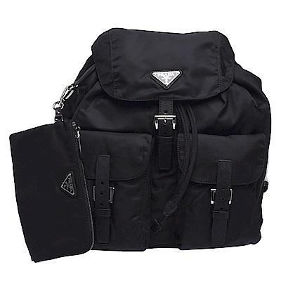 PRADA 經典三角LOGO尼龍束口穿釦/磁釦雙口袋造型後背包(黑-附收納袋)