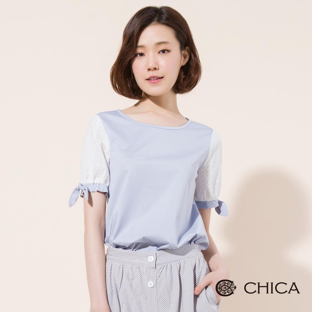 CHICA 清秀佳人蕾絲蝴蝶結短袖上衣(2色)
