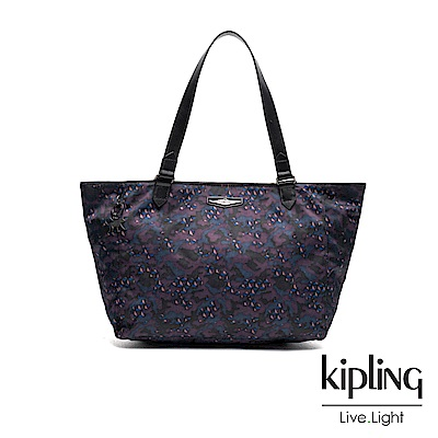 Kipling 紫色迷彩幾何印花大容量手提側背包-LOTS OF BAG