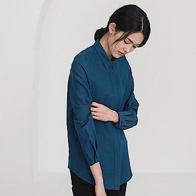 旅途原品_和弦_原創設計經典百搭真絲羊毛襯衫-咖啡/藏藍