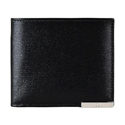 TOD S經典字母金屬牌LOGO水波紋牛皮5卡對折短夾(黑)