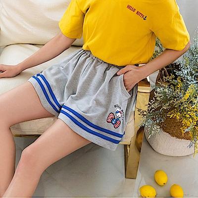 KITTY水手系列~棉質配條印花腰鬆緊休閒短褲-OB大尺碼