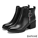 達芙妮DAPHNE 短靴-撞色線條圓扣拉鏈粗跟短靴-黑