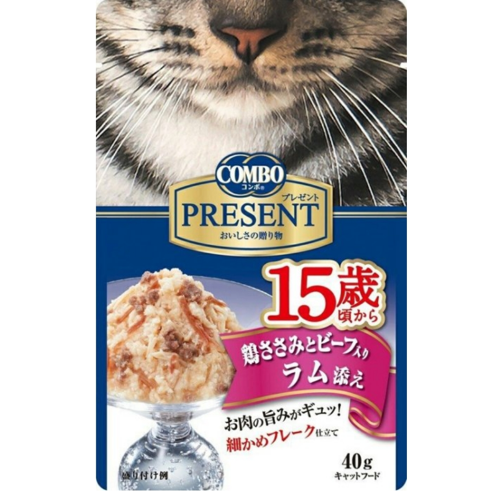 COMBO PRESENT 吻饌蒸煮食《15歲-雞肉+牛肉+羊肉》40G 14包組