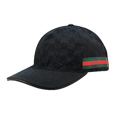 GUCCI經典雙G LOGO緹花布綠紅織帶設計魔鬼氈棒球帽(黑)