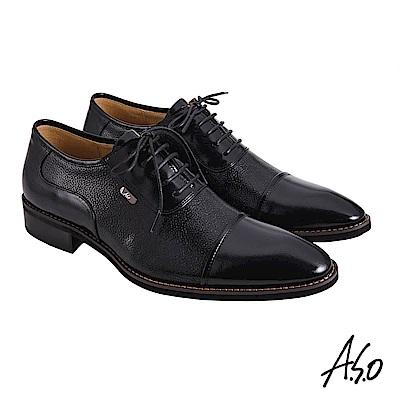 A.S.O職場通勤 菁英通勤異材質綁帶牛津紳士鞋-黑