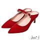 Ann'S美型不散場-顯瘦瑪莉珍尖頭穆勒細跟鞋-紅 product thumbnail 1