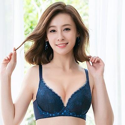 莎薇-粉水 D罩杯內衣(藍)波光在現-保濕素材-小胸增量襯墊