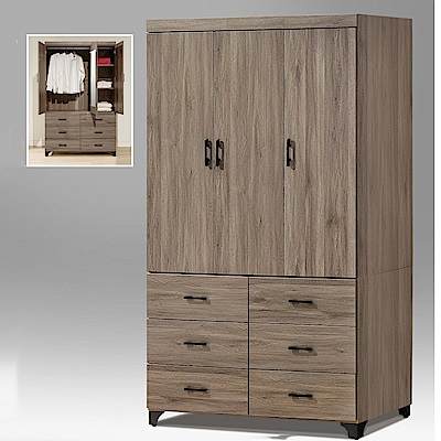 MUNA布朗克斯4X7尺衣櫥(含內鏡)  120X56.5X196cm