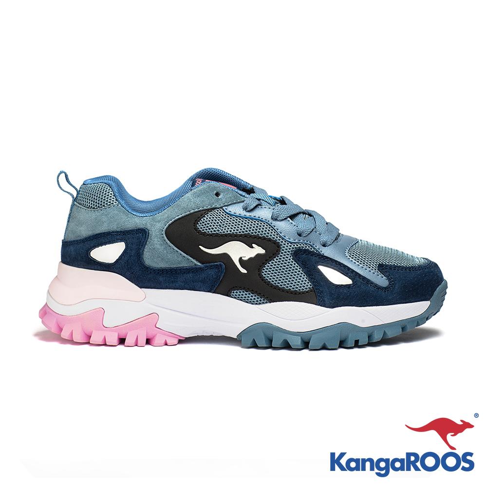 KangaROOS 美國袋鼠鞋 女 GROOVE 越野老爹鞋(藍粉)