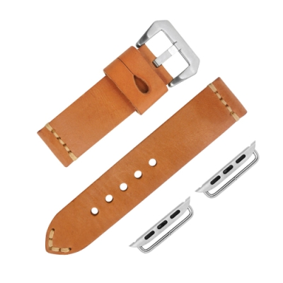 Apple Watch 蘋果手錶替用錶帶 蘋果錶帶 加厚牛皮錶帶-駝色
