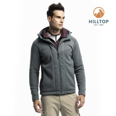 【hilltop山頂鳥】男款ZISOFIT保暖吸濕快乾連帽刷毛外套H22MX8深灰